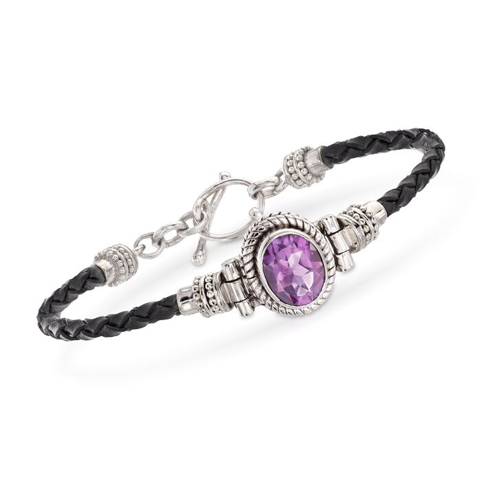 2.50 Carat Amethyst and Black Leather Toggle Bracelet in Sterling Silver
