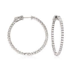 """2.00 ct. t.w. CZ Hoop Earrings in Sterling Silver. 1 1/4"""", , default"""