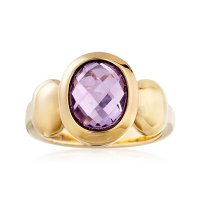 2.50 Carat Amethyst Ring in 14kt Yellow Gold, , default