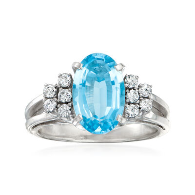 C. 2000 Vintage 1.90 Carat Aquamarine and .25 ct. t.w. Diamond Ring in Platinum
