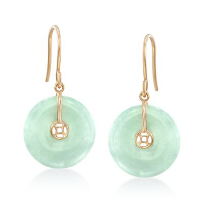 15mm Jade Drop Earrings in 18kt Gold Over Sterling, , default