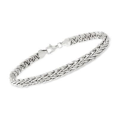 14kt White Gold Flat Wheat Bracelet, , default