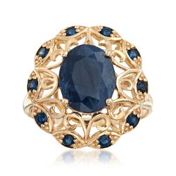 4.20 ct. t.w. Saphire Scrolled Ring in 14kt Yellow Gold, , default