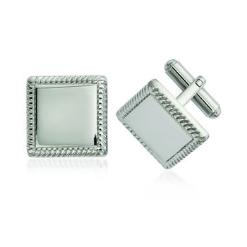 Stainless Steel Polished Square Cuff Links, , default