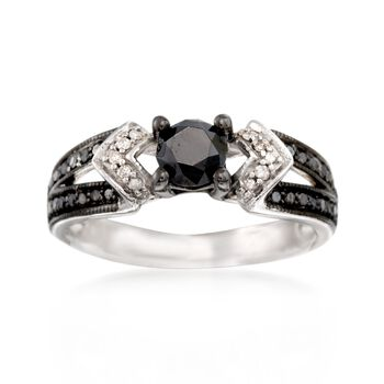 .99 ct. t.w. Black and White Diamond Ring in Sterling Silver, , default