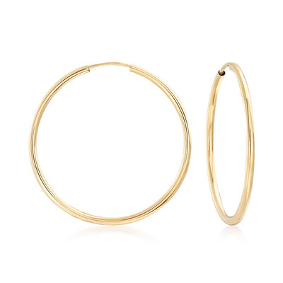 14kt Yellow Gold Endless Hoop Earrings, , default