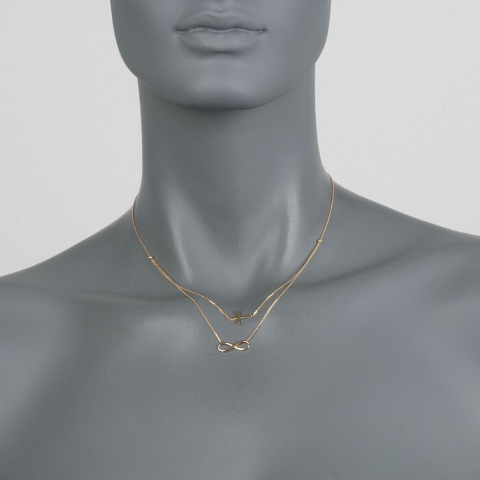 """14kt Yellow Gold Double Layer Infinity and Cross Symbol Necklace. 16"""", , default"""