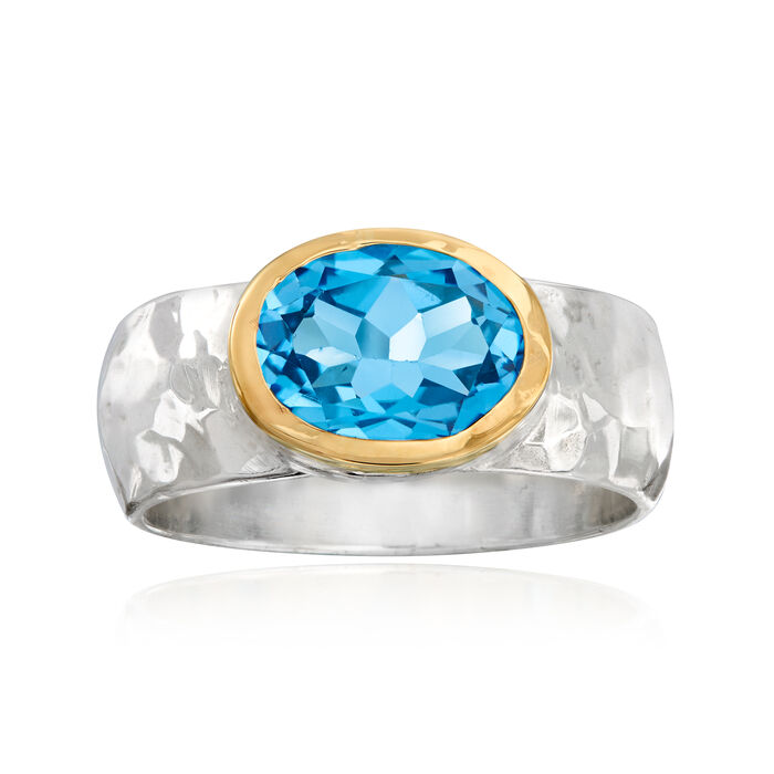3.50 Carat Swiss Blue Topaz Hammered Ring in Sterling Silver with 14kt Yellow Gold. Size 6