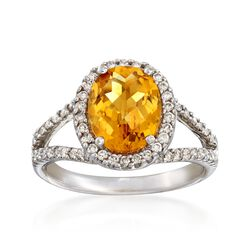C. 1990 Vintage 2.08 Carat Citrine and .50 ct. t.w. Diamond Ring in 14kt White Gold. Size 6.5, , default