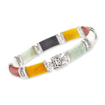 "Multicolored Jade ""Good Fortune"" Bracelet in Sterling Silver"