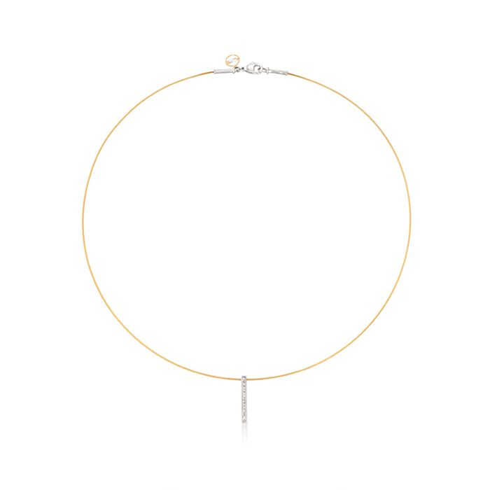 """ALOR """"Classique"""" Yellow Cable Bar Pendant Necklace With Diamond Accents and 18kt Gold. 17"""", , default"""