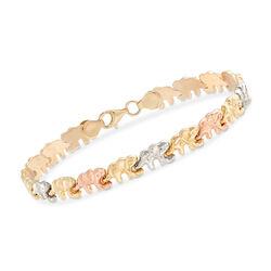 """14kt Tri-Colored Gold Elephant-Link Bracelet. 7"""", , default"""