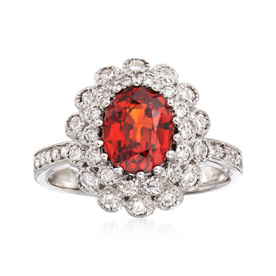 C. 1990 Vintage 2.65 Carat Garnet and .75 ct. t.w. Diamond Ring in 18kt White Gold, , default