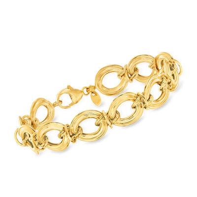 Italian 14kt Yellow Gold Large Oval-Link Bracelet