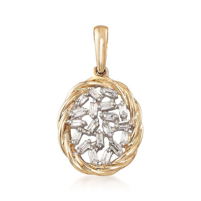 .14 ct. t.w. Baguette Diamond Pendant in 14kt Yellow Gold , , default