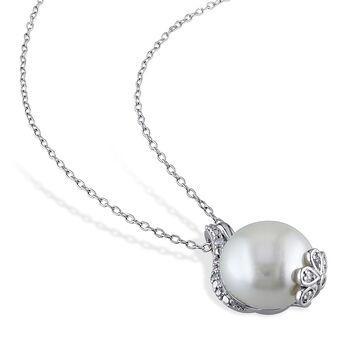 12.5-13mm Cultured Button Pearl and .10 ct. t.w. Diamond Pendant Necklace in Sterling Silver. 18""