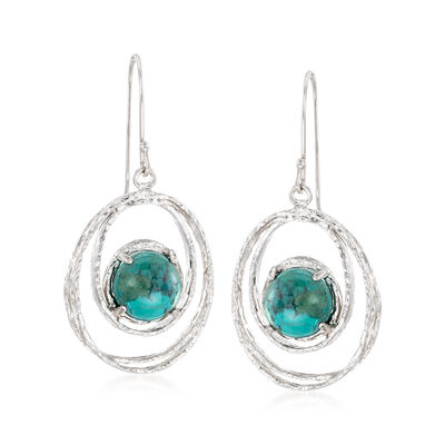 Turquoise Drop Earrings in Sterling Silver, , default