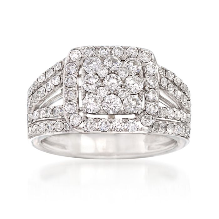 1.45 ct. t.w. Diamond Cluster Ring in 14kt White Gold, , default