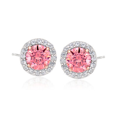 Pink CZ and .54 ct. t.w. White CZ Stud Earrings in Sterling Silver, , default