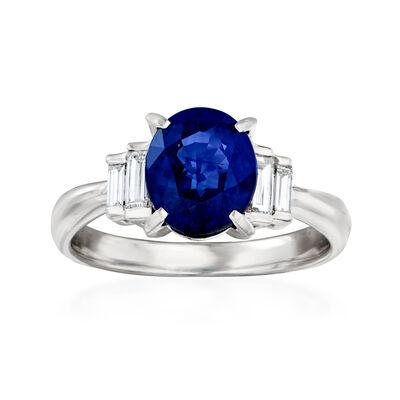 C. 1980 Vintage 2.83 Carat Sapphire and .36 ct. t.w. Diamond Ring in Platinum