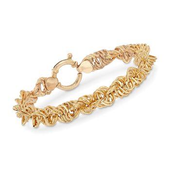 "Italian 18kt Yellow Gold Rope Link Bracelet. 7.5"", , default"