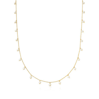 2.5-3mm Cultured Pearl Necklace in 14kt Yellow Gold