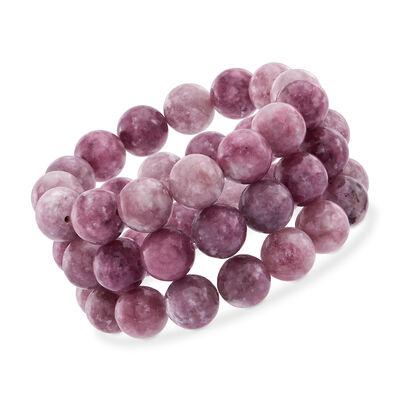 12mm Purple Lepidolite Bead Set: Three Stretch Bracelets, , default