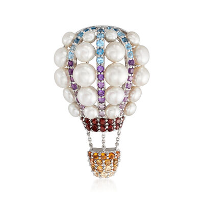 3.5-7mm Cultured Pearl and 2.20 ct. t.w. Multi-Gemstone Hot Air Balloon Pin in Sterling Silver, , default