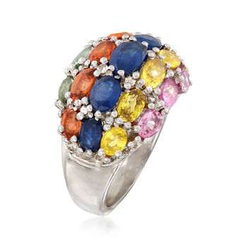 4.50 ct. t.w. Multicolored Sapphire and .25 ct. t.w. Diamond Ring in Sterling Silver, , default