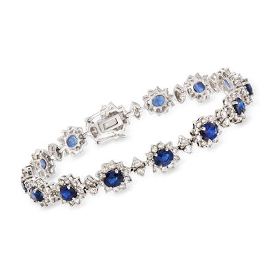 6.50 ct. t.w. Sapphire and 4.20 ct. t.w. Diamond Bracelet in 18kt White Gold, , default
