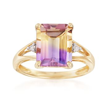 4.70 Carat Ametrine Ring With Diamonds in 14kt Yellow Gold, , default