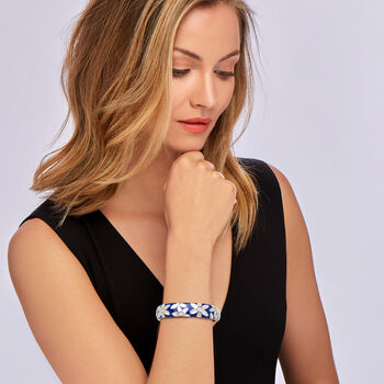 """Belle Etoile """"Moonflower"""" Blue Enamel and Mother-Of-Pearl Bangle Bracelet with .48 ct. t.w. CZ in Sterling Silver. 7.5"""""""