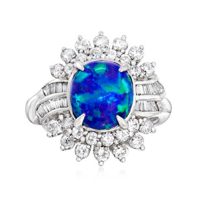 C. 1980 Vintage Black Opal and 1.00 ct. t.w. Diamond Ring in Platnum, , default