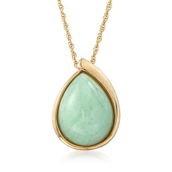 """C. 1990 Vintage Pear-Shaped Jade Pendant Necklace in 14kt Yellow Gold. 18"""", , default"""