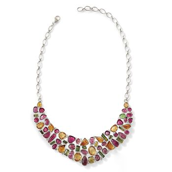 "41.50 ct. t.w. Multicolored Tourmaline and 34.25 ct. t.w. Citrine Bib Necklace in Sterling Silver. 16"", , default"