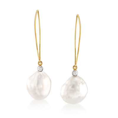 Mazza 16x14mm Cultured Baroque Pearl and .20 ct. t.w. Diamond Drop Earrings in 14kt Yellow Gold, , default