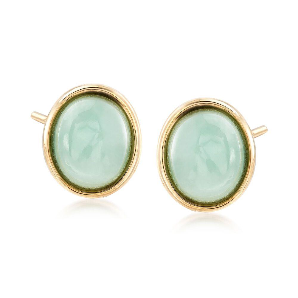Oval Green Jade Stud Earrings In 14kt Yellow Gold Default