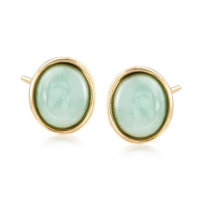 Oval Green Jade Stud Earrings in 14kt Yellow Gold, , default