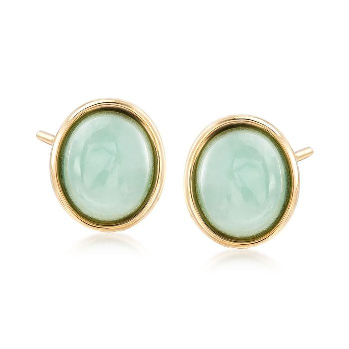 Oval Green Jade Stud Earrings in 14kt Yellow Gold, , default