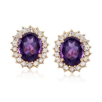 C. 1970 Vintage 9.00 ct. t.w. Amethyst and 2.15 ct. t.w. Diamond Clip-On Earrings in 14kt Yellow Gold, , default