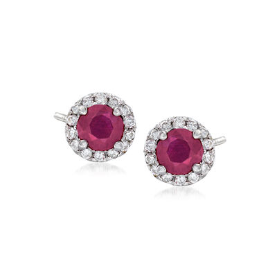 .50 ct. t.w. Ruby and .15 ct. t.w. Diamond Halo Earrings in 14kt White Gold, , default