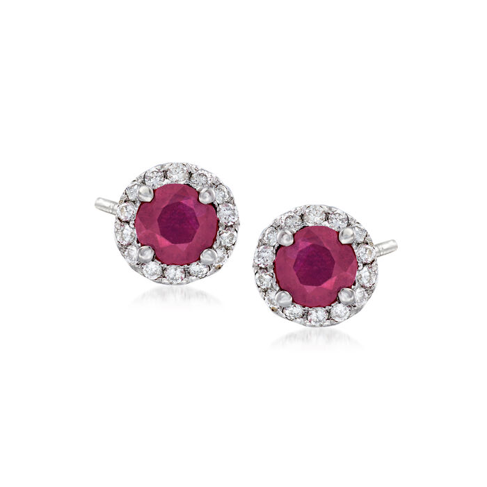 .50 ct. t.w. Ruby and .15 ct. t.w. Diamond Halo Earrings in 14kt White Gold , , default