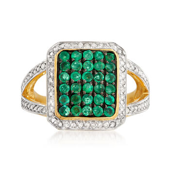 1.00 ct. t.w. Emerald and .17 ct. t.w. Diamond Ring in 18kt Gold Over Sterling, , default