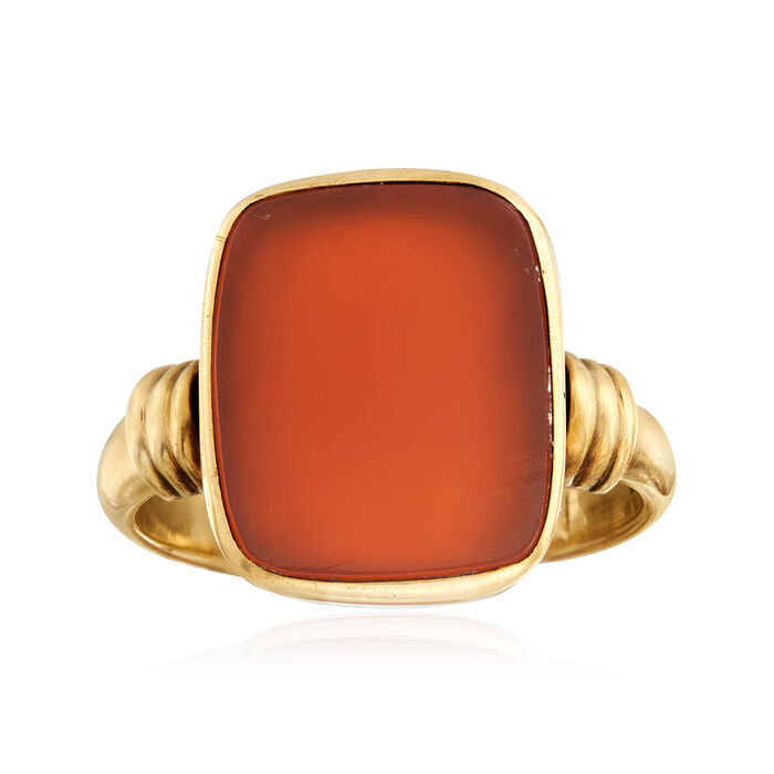 C. 1940 Vintage Carnelian Ring in 14kt Yellow Gold. Size 8