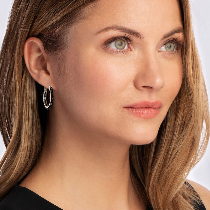 Black Onyx Beaded Hoop Earrings in Sterling Silver