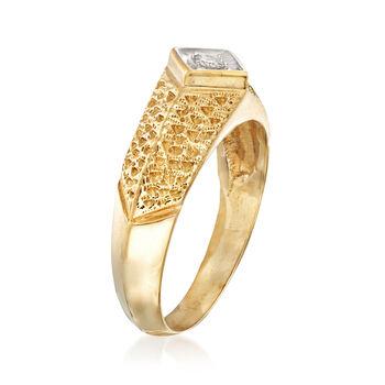 C. 1980 Vintage 14kt Yellow Gold Ring with a Diamond Accent. Size 6