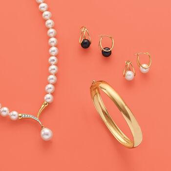 "8-9mm Black Cultured Pearl Double Hoop Earrings in 14kt Gold. 3/4"", , default"