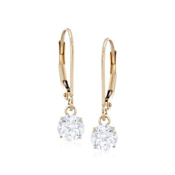 1.00 ct. t.w. CZ Drop Earrings in 14kt Yellow Gold , , default