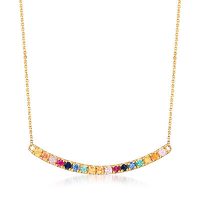 .64 ct. t.w. Multicolored Multi-Gem Curved Bar Necklace in 14kt Yellow Gold