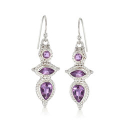 4.70 ct. t.w. Amethyst Drop Earrings in Sterling Silver, , default